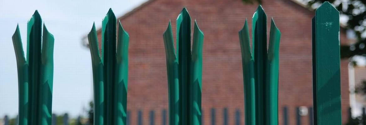 Green PVC coated palisade pales and RSJ post