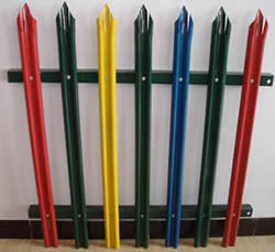 PVC coated palisade fencing in green, yellow, blue and red
