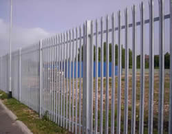 Galvanized palisade fencing with RSJ post are used to protect factories from intrusion.